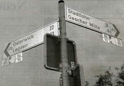 """Verkehrte (Schilder-)Welt: An der Hambrücke werden Radwanderer mit Ziel """"Gescher Mitte"""