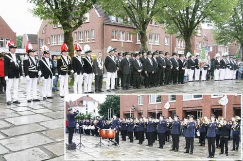 Guter Start fürs Harwicker Schützenfest: Der Auftakt mit Zapfenstreich am Rathaus sorgte für große Beteiligung.   Fotos: Kortbus